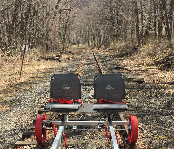 red railbike on the rail track going through the forest